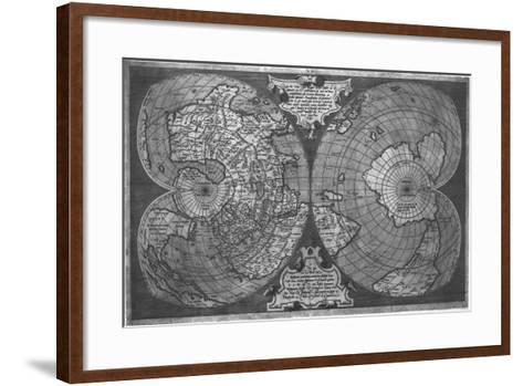 Double Cordiform World Map by Antonio Salamanca, Copperplateed in Roma 1550--Framed Art Print
