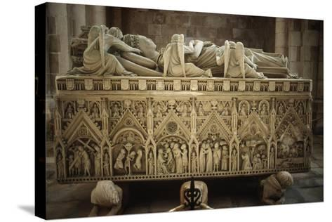 Portugal, Alcobaca, Tomb of Ines De Castro at Cistercian Monastery--Stretched Canvas Print