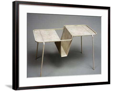 Valet Stand with Magazine Rack, Perforated Metal, Painted White, Italy--Framed Art Print