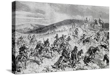 Battle Between Soldiers and Indians, Etching, Indian Wars, United States--Stretched Canvas Print