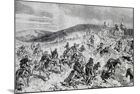 Battle Between Soldiers and Indians, Etching, Indian Wars, United States--Mounted Giclee Print