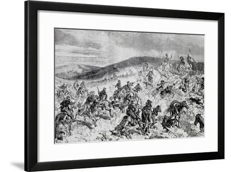 Battle Between Soldiers and Indians, Etching, Indian Wars, United States--Framed Art Print