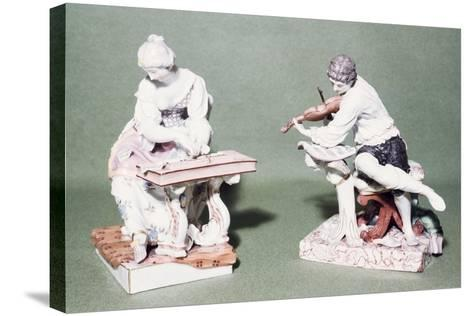 Pair of Musicians, Porcelain, Ludwigsburg Manufacture, Baden-Wuerttemberg, Germany--Stretched Canvas Print