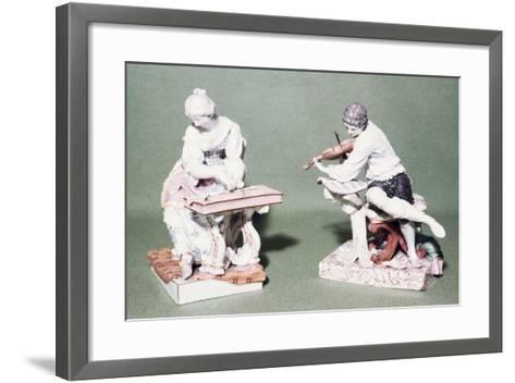 Pair of Musicians, Porcelain, Ludwigsburg Manufacture, Baden-Wuerttemberg, Germany--Framed Art Print