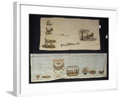 Series of Cross-Stitch on Linen Embroidery--Framed Art Print