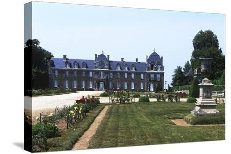 France, Brittany, Main Façade and Garden of 18th Century Caradeuc Castle--Stretched Canvas Print