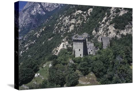 Italy, Aosta Valley, Lys Valley, Superior Castle of Arnad, Aerial View--Stretched Canvas Print