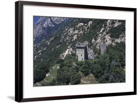 Italy, Aosta Valley, Lys Valley, Superior Castle of Arnad, Aerial View--Framed Art Print
