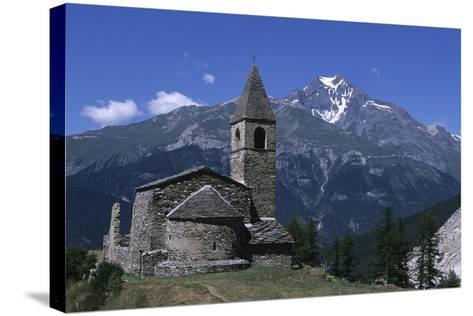 France, Rhone-Alpes, Vanoise Massif, Church of Saint Pierre D'Extravache--Stretched Canvas Print