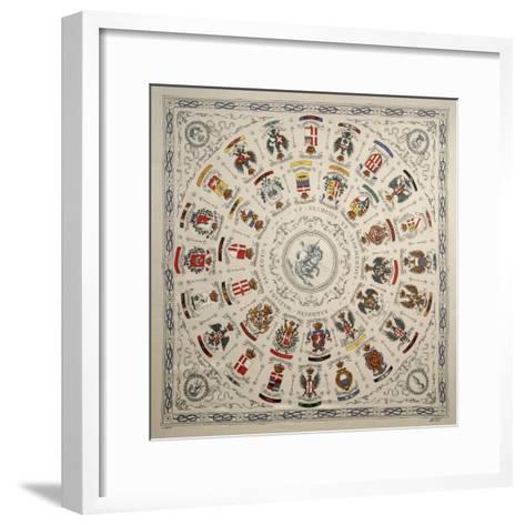 Italy, Scarf Depicting Coat of Arms of Cavalry Regiment--Framed Art Print