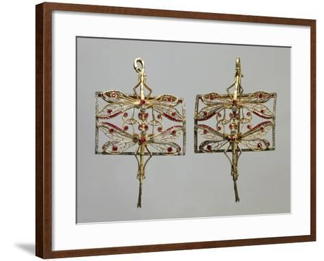 Insect-Shaped Gold Brooches Set with Rubies and Diamonds.--Framed Art Print