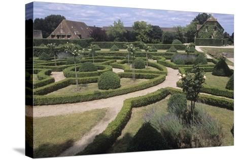 France, Aquitaine, Gardens of 13th Century Castle of Beauvoir--Stretched Canvas Print