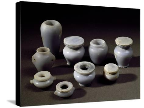 Small Jars for Cosmetics, Blue Marble, from Abydos, Middle Kingdom--Stretched Canvas Print