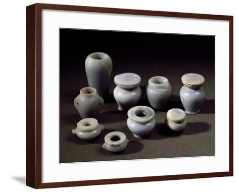 Small Jars for Cosmetics, Blue Marble, from Abydos, Middle Kingdom--Framed Art Print