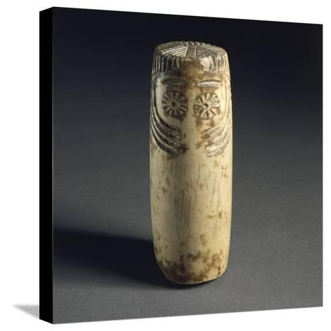 Cylindrical Alabaster Idol with Face Depicted, from Megalithic Tomb in Estremadura--Stretched Canvas Print