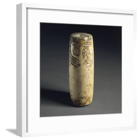 Cylindrical Alabaster Idol with Face Depicted, from Megalithic Tomb in Estremadura--Framed Art Print