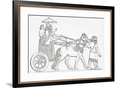 An Assyrian King in His Chariot of State, from the Imperial Bible Dictionary, Published 1889--Framed Art Print