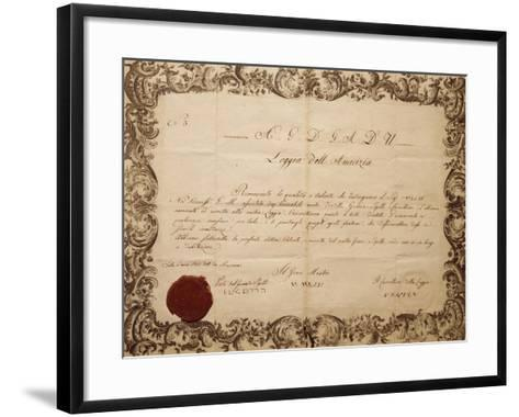 Masonic Patent Issued in Venice by the Lodge of Friendship, Italy--Framed Art Print