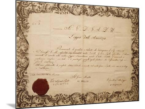 Masonic Patent Issued in Venice by the Lodge of Friendship, Italy--Mounted Giclee Print