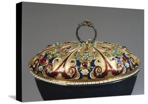 Heliotrope Bowl with Enameled Gold Lid Set with Rubies, Detail of Lid, 16th Century--Stretched Canvas Print