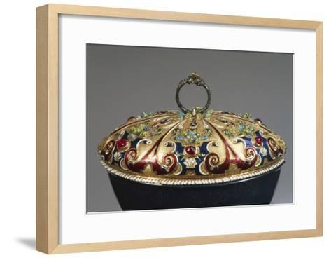 Heliotrope Bowl with Enameled Gold Lid Set with Rubies, Detail of Lid, 16th Century--Framed Art Print