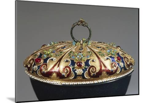 Heliotrope Bowl with Enameled Gold Lid Set with Rubies, Detail of Lid, 16th Century--Mounted Giclee Print