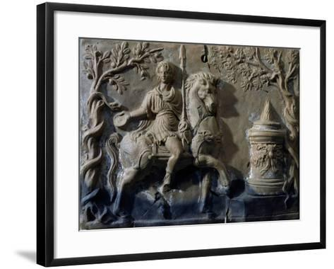 Terracotta Tablet with Relief Depicting Knight in Act of Making Offer--Framed Art Print