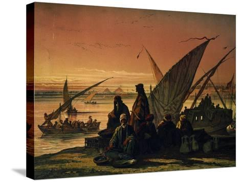 Camp Along Nile, Near Memphis, Egypt, 1858--Stretched Canvas Print
