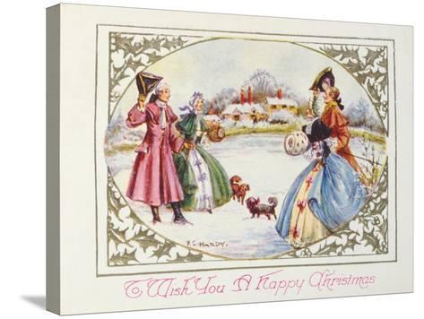 To Wish You a Happy Christmas, Victorian Card--Stretched Canvas Print