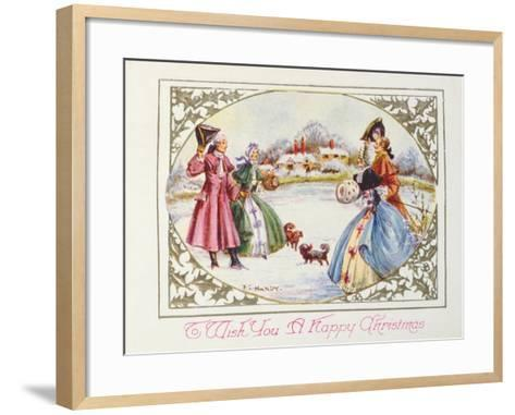 To Wish You a Happy Christmas, Victorian Card--Framed Art Print