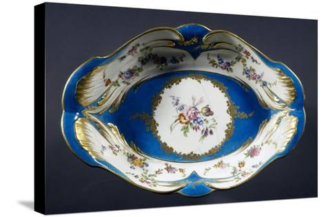 Tray with Turquoise Background with Multi-Coloured Flowers, Porcelain, 1754-1756--Stretched Canvas Print
