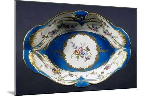 Tray with Turquoise Background with Multi-Coloured Flowers, Porcelain, 1754-1756--Mounted Giclee Print