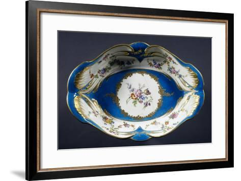 Tray with Turquoise Background with Multi-Coloured Flowers, Porcelain, 1754-1756--Framed Art Print