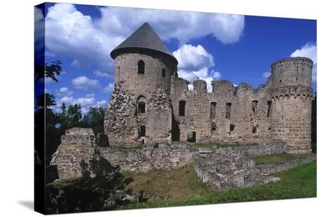 Latvia, Vidzeme, Cesis, Ruins of 14th Century Castle--Stretched Canvas Print