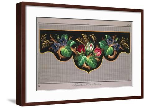 Pelmet Pattern with Roses, Violets and Ears of Wheat--Framed Art Print