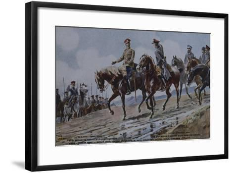 Grand Duke Nicholas in Hussar Uniform, and Cossacks, Postcard, World War I, Russia--Framed Art Print