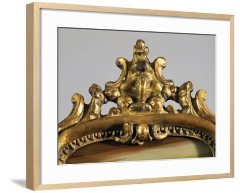 Roman Mirror with Painted Scene, Carved and Gilt Wood Frame, Italy, Detail of Frame--Framed Art Print
