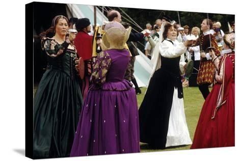 Tudor Period Dancing, Late 16th Century Historical Re-Enactment--Stretched Canvas Print
