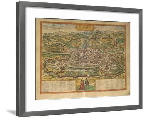 Map of Rome from Civitates Orbis Terrarum--Framed Art Print
