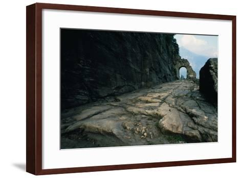 Section of Roman Road and Arch Carved into the Rock, Donnas, Valle D' Aosta, Italy--Framed Art Print