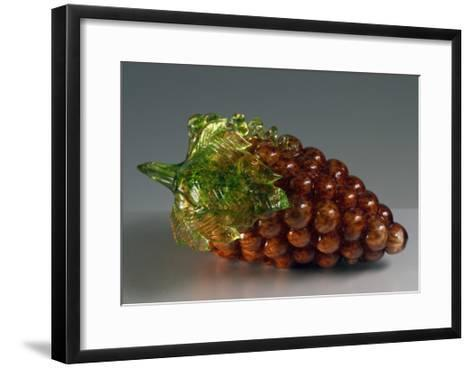 Bunch of Black Grapes in Glass, Murano, Italy--Framed Art Print