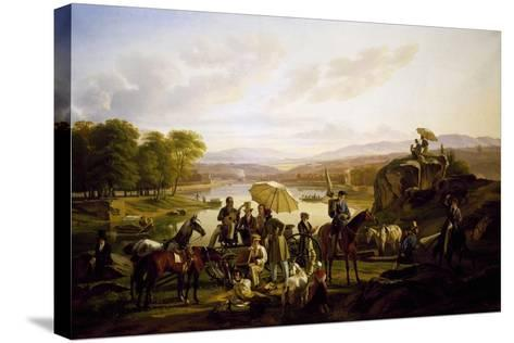 Painters from Lyon Stopping at Barbe Island, 1824--Stretched Canvas Print