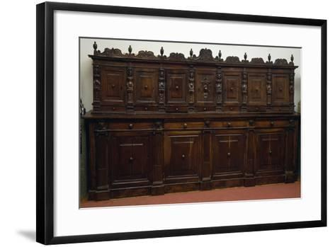 Large Finely Carved Italian Sideboard with Two Rows of Doors, 16th Century--Framed Art Print