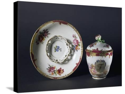 Cup, Saucer and Lid with Floral Decorations, 1840-1850--Stretched Canvas Print