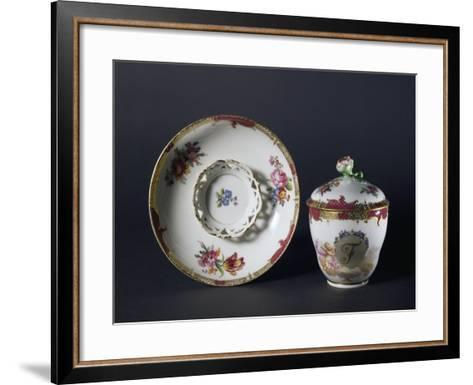 Cup, Saucer and Lid with Floral Decorations, 1840-1850--Framed Art Print