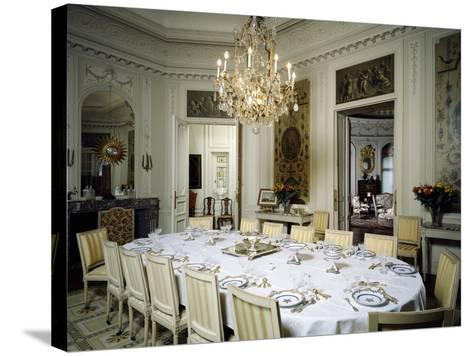 Dining Room in Ooidonk Castle, Deinze, Belgium--Stretched Canvas Print