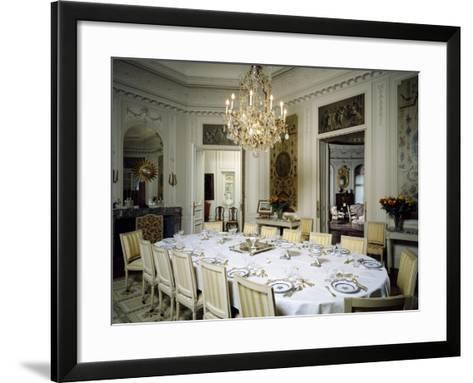 Dining Room in Ooidonk Castle, Deinze, Belgium--Framed Art Print