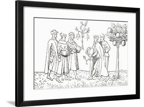 Friar Oderic of Pordenone Holding a Branch from a Tree on Which Birds Grow--Framed Art Print