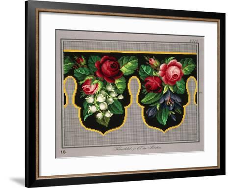 Pelmet Pattern with Roses, Lilies of the Valley and Crocus--Framed Art Print