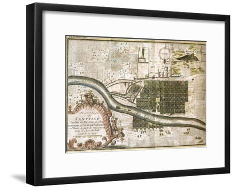 Chile. Santiago De Chile, Map in 1713--Framed Art Print